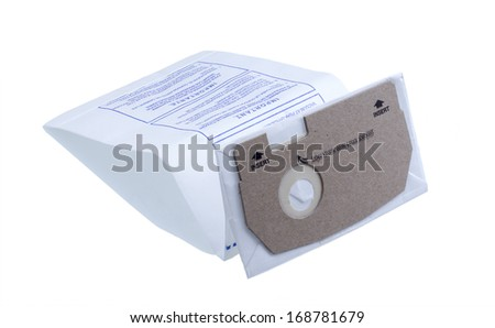 New vacuum cleaner disposable bag isolated on white . - stock photo