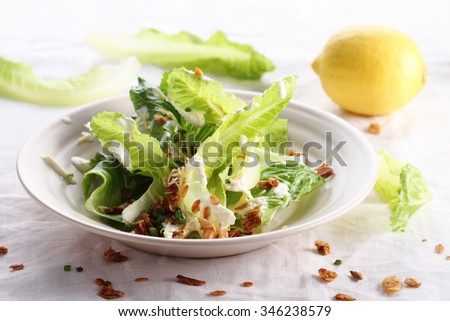 new vegetarian caesar salad with oat croutons - stock photo