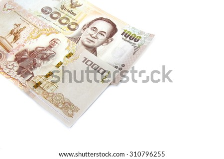 New version of one thousand Thai bank notes - stock photo