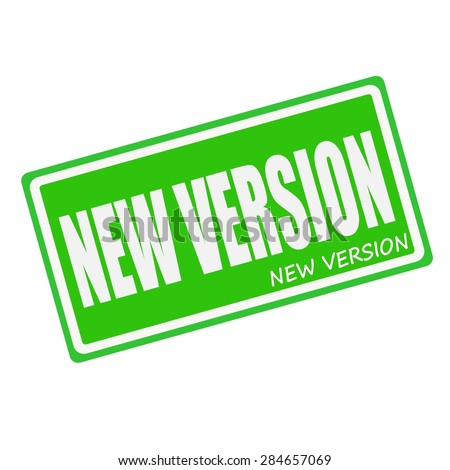 NEW VERSION white stamp text on green - stock photo