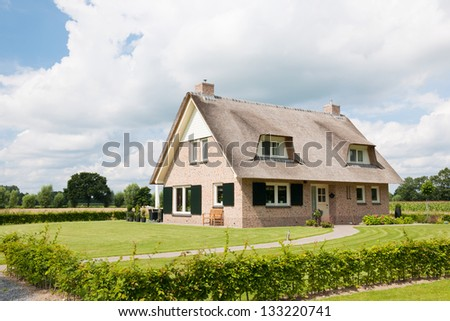 New villa with straw roof in garden