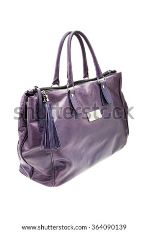 New violet womens bag isolated on white background.