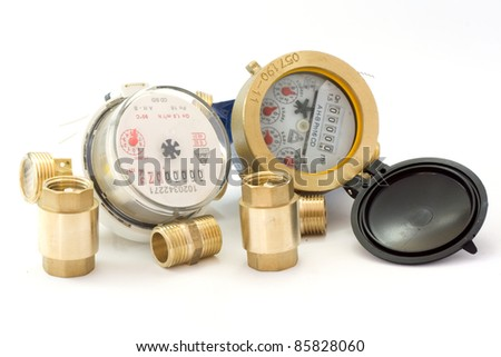 New water meter with fittings isolated in white background - stock photo
