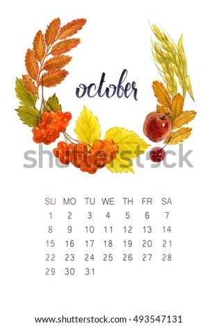 New watercolor calendar with floral wreath and hand lettering. Modern calligraphy poster. October 2017
