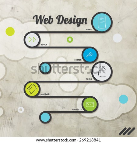 new web page template with menu options - stock photo