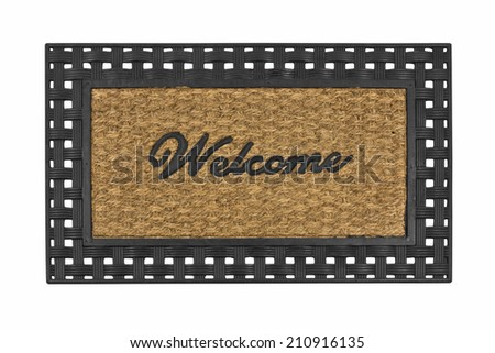 New welcome mat isolated on white. - stock photo