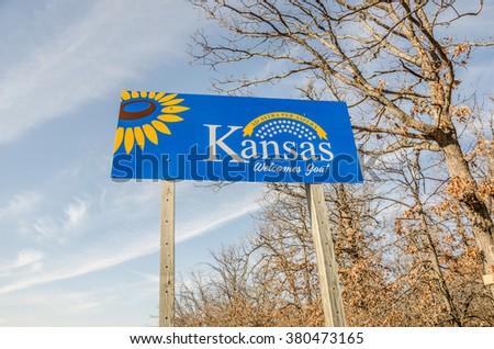 New welcome sign for the state of Kansas on the Missouri border