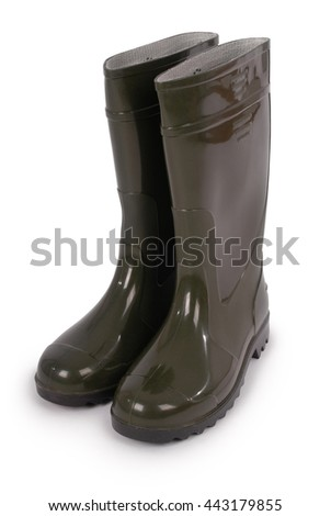 New wellington boots isolated on white background. Photo with clipping path - stock photo