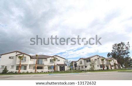 New West Coast Houses With Lots Of  Copyspace Above - stock photo