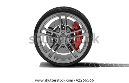 new wheel with tyre track - isolated 3d render on white - stock photo
