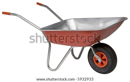 New Wheelbarrow - isolated on white - stock photo