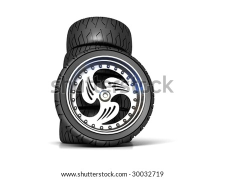 New wheels isolated on white - stock photo