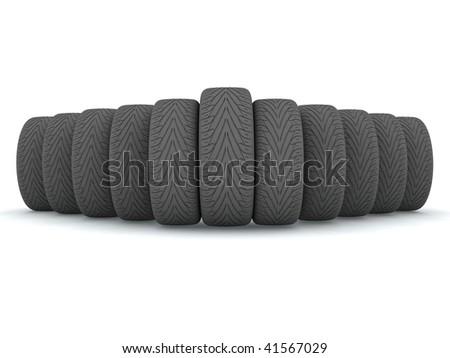 New wheels isolated on white background - stock photo