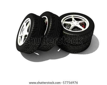 New Wheels Set isolated on white