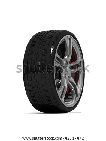 new wheels with steel rim - isolated 3d render on white - stock photo