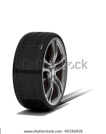 new wheels with tyre track - isolated 3d render on white - stock photo