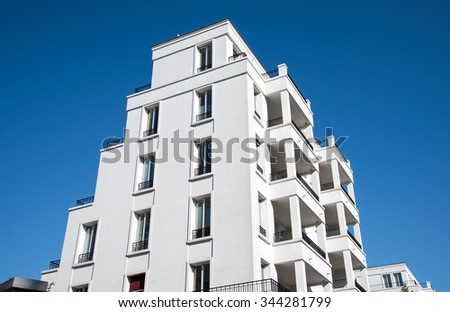 New white apartment building seen in Berlin - stock photo
