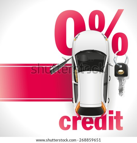 New white car with open front door standing on the red carpet. Against the background of a red font written zero interest rate on the loan. On the percent symbol hanging black ignition key. - stock photo
