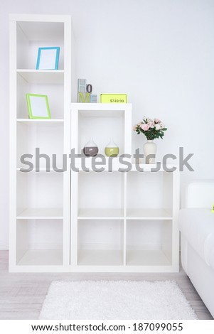 New white furniture with price on light background - stock photo
