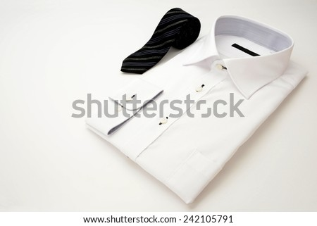 New white shirt and tie for businessman - stock photo