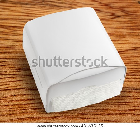 New white towel dispenser closeup and blank - stock photo