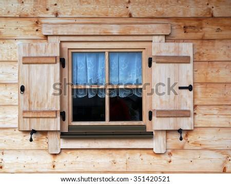 new window shutter - stock photo