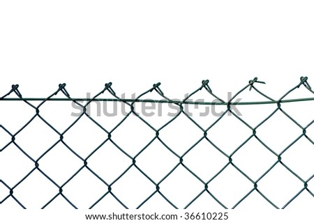 New wire security fence, isolated - stock photo