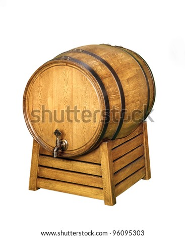 new  wooden barrel isolated on a white background