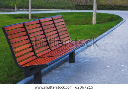 new wooden bench in a city park in Donetsk Ukraine