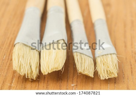 New Wooden Different Paintbrush Set Texture over a Colored Background