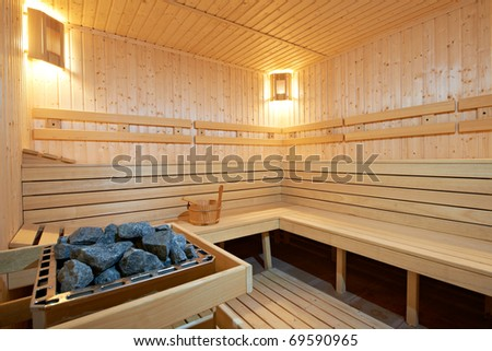 New wooden Finland-style sauna - stock photo