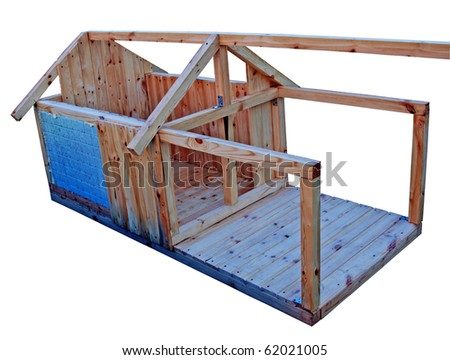 New wooden house for dog, under construction - stock photo