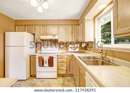New wooden kitchen cabinets in light tones with white appliances - stock photo