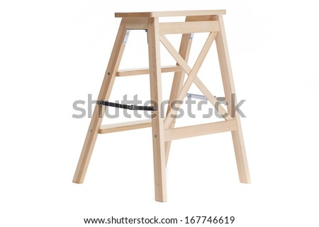 New wooden ladder on the white background - stock photo
