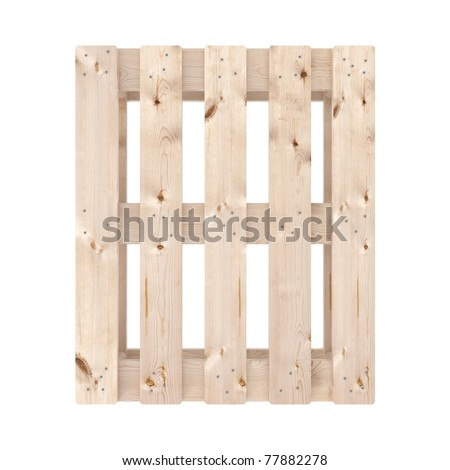 New wooden pallet on white (top view)