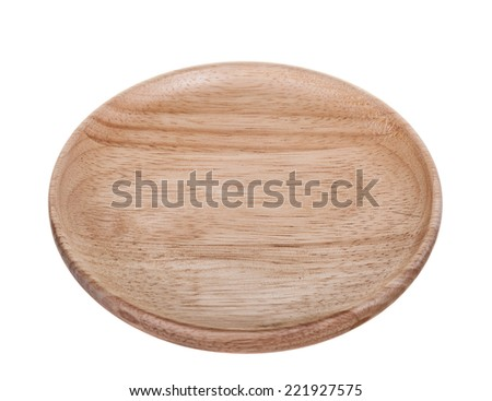 New wooden plate isolated on white background.