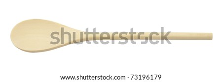 New wooden spoon isolated on a white background. - stock photo