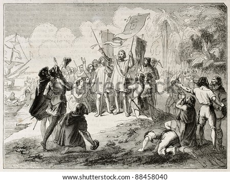 New world discovery by Christopher Columbus. Created by Colin, published on Magasin Pittoresque, Paris, 1844 - stock photo