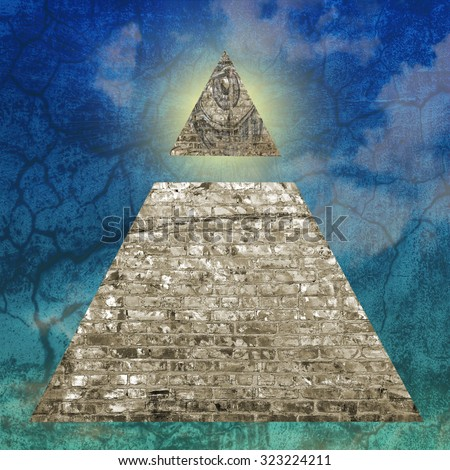 New World Order pyramid illustration including an all seeing eye.  - stock photo