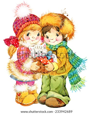 New Year and  children. Christmas celebration. watercolor - stock photo