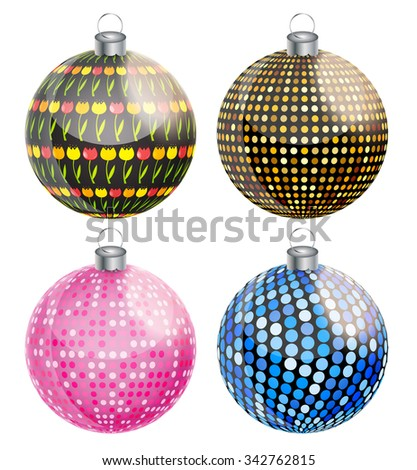 New Year and Christmas Balls Set Illustration