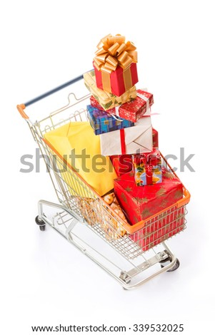 New Year and Christmas concepts. Many multi-coloured presents or gifts were bought for the whole family isolated on white background.