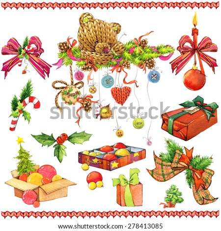 New year and Christmas decoration elements for design with cute teddy bear. watercolor drawing - stock photo