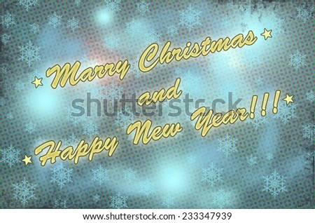 New year and christmas  greeting card made in vintage style - stock photo