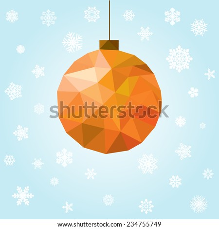new year and christmas greeting card with polygonal ball - stock photo