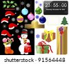 New year and Christmas icons on white and black. Raster version. - stock photo