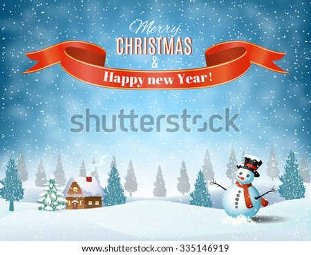 New year and Christmas winter landscape background with snowman. illustration Raster version.  - stock photo