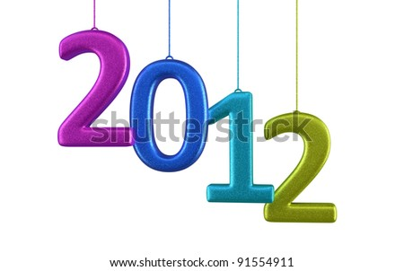 New Year 2012 and colorfu render (isolated on white and clipping path) - stock photo