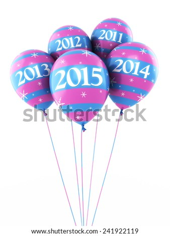 New Year 2015 and colorful balloons render (isolated on white and clipping path) - stock photo