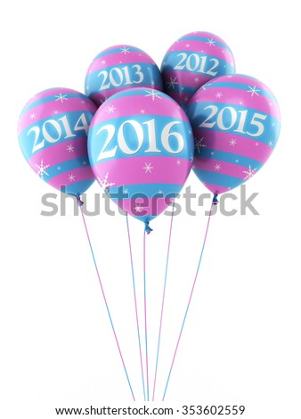 New Year 2016 and colorful balloons render (isolated on white and clipping path) - stock photo